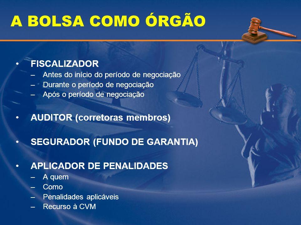 A BOLSA COMO ÓRGÃO FISCALIZADOR AUDITOR (corretoras membros)