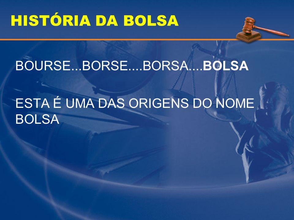 HISTÓRIA DA BOLSA BOURSE...BORSE....BORSA....BOLSA