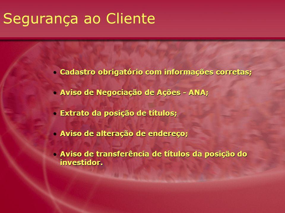 Segurança ao Cliente Cadastro obrigatório com informações corretas;