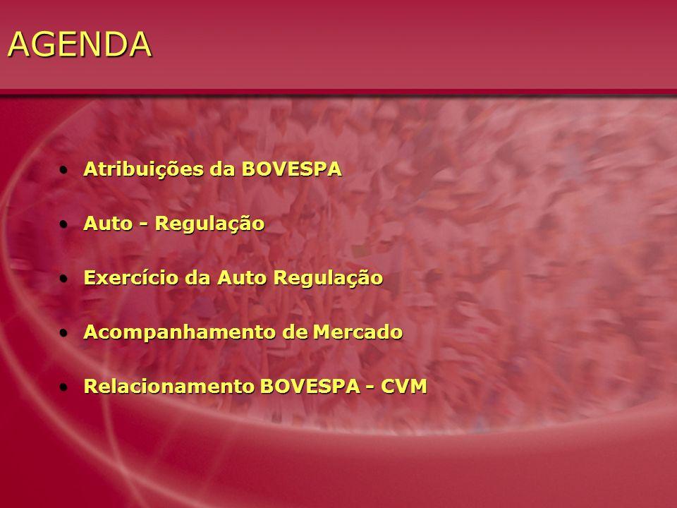 AGENDA Atribuições da BOVESPA Auto - Regulação