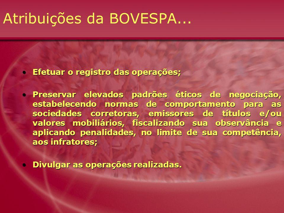 Atribuições da BOVESPA...