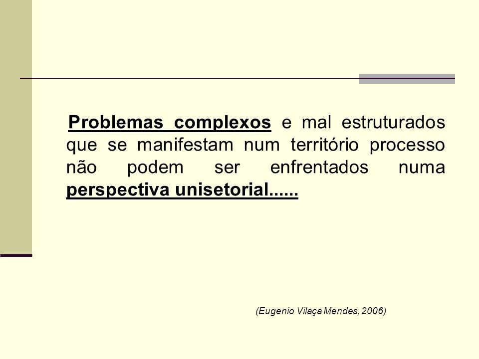 Problemas complexos e mal estruturados que se manifestam num território processo não podem ser enfrentados numa perspectiva unisetorial......