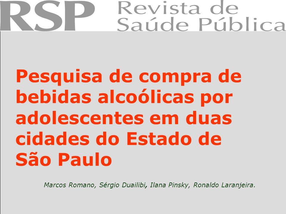 Pesquisa de compra de bebidas alcoólicas por adolescentes em duas cidades do Estado de São Paulo