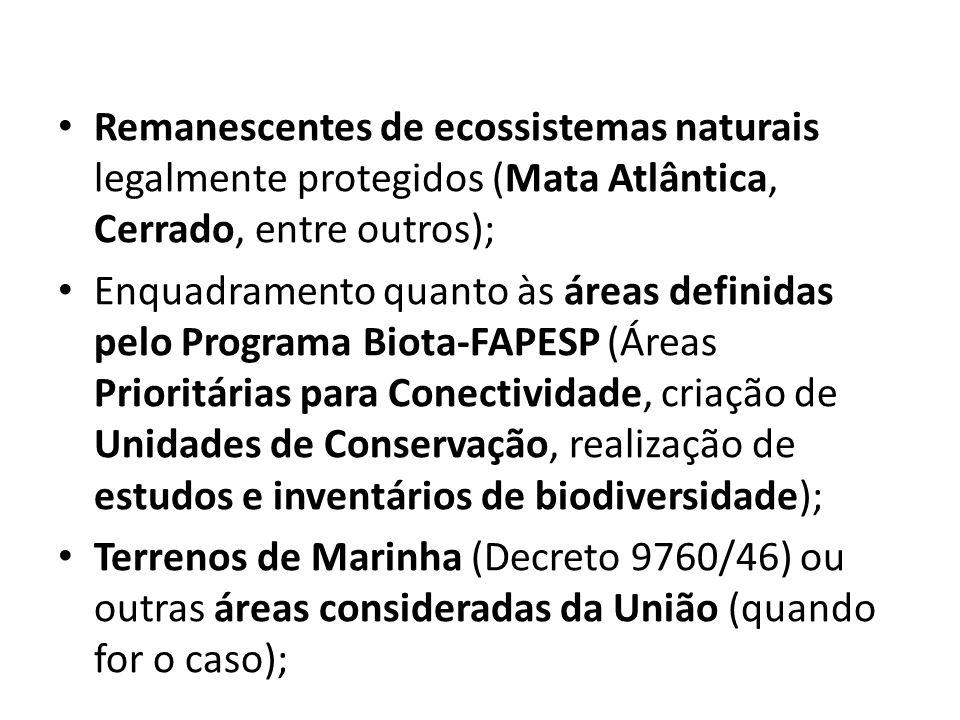 Remanescentes de ecossistemas naturais legalmente protegidos (Mata Atlântica, Cerrado, entre outros);