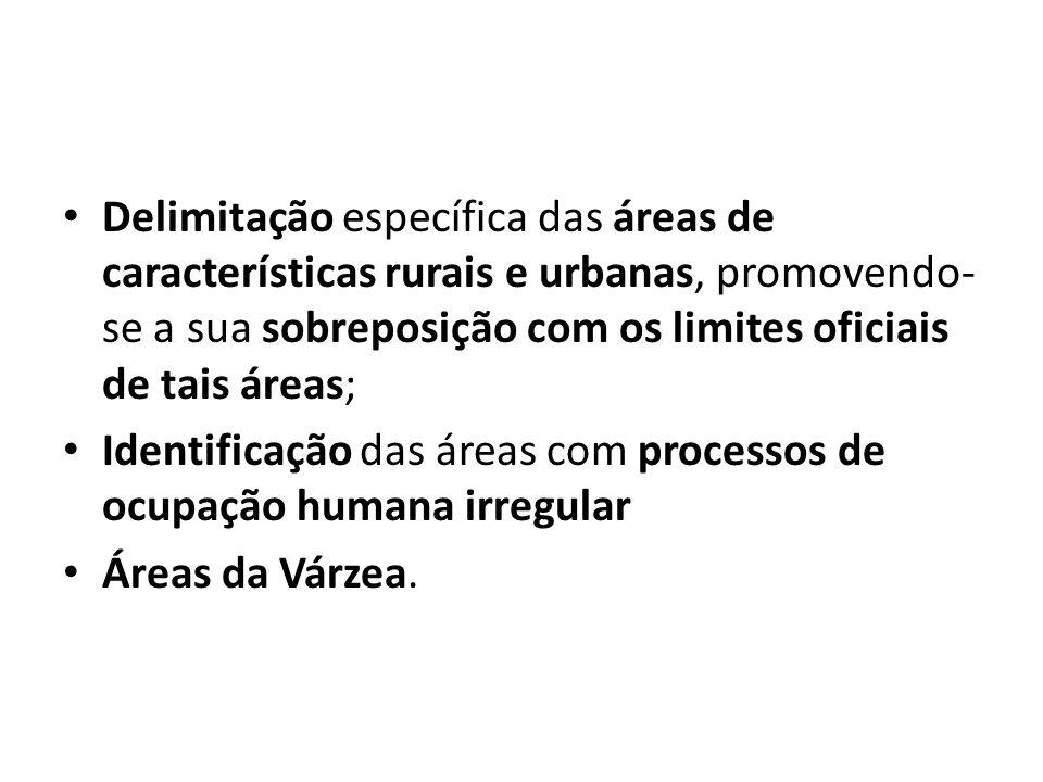 Delimitação específica das áreas de características rurais e urbanas, promovendo-se a sua sobreposição com os limites oficiais de tais áreas;
