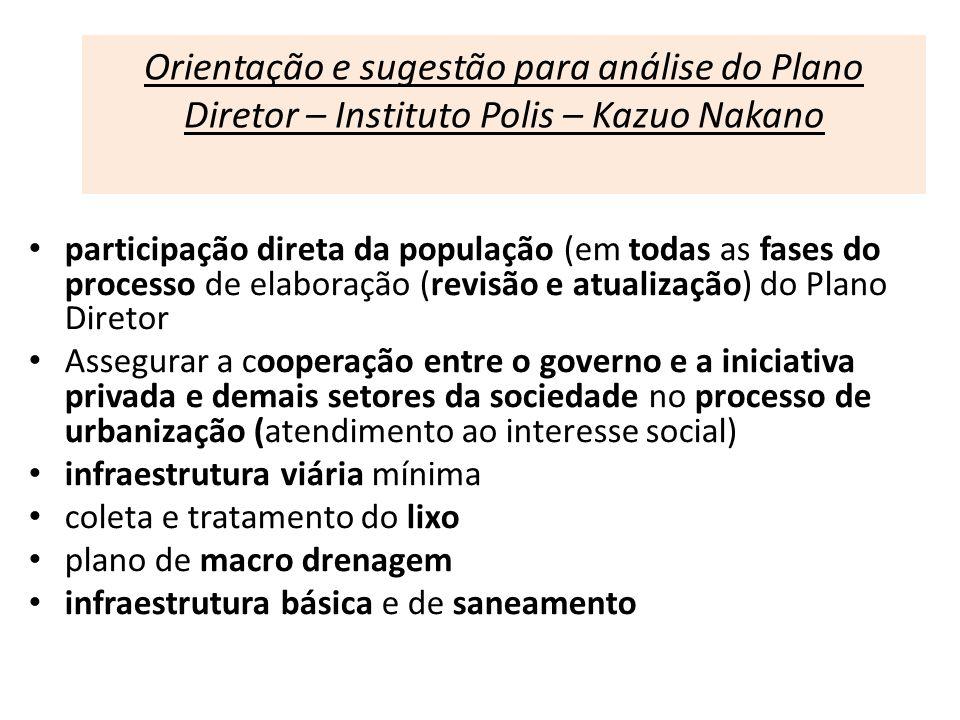 Orientação e sugestão para análise do Plano Diretor – Instituto Polis – Kazuo Nakano