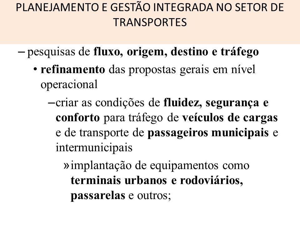 PLANEJAMENTO E GESTÃO INTEGRADA NO SETOR DE TRANSPORTES