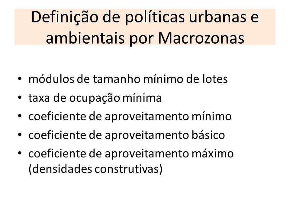 Definição de políticas urbanas e ambientais por Macrozonas