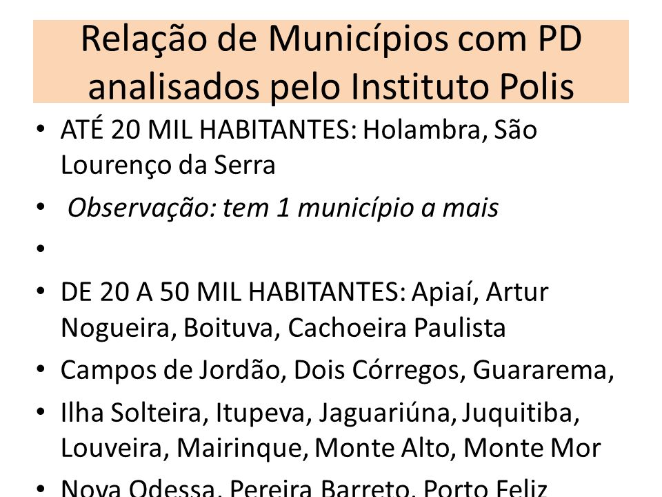 Relação de Municípios com PD analisados pelo Instituto Polis