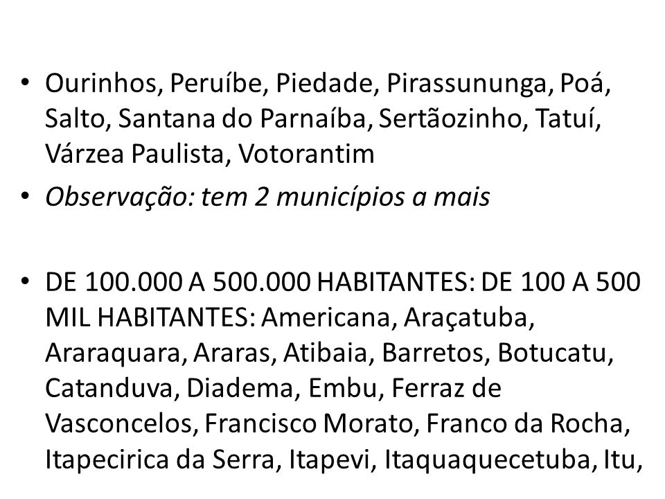 Ourinhos, Peruíbe, Piedade, Pirassununga, Poá, Salto, Santana do Parnaíba, Sertãozinho, Tatuí, Várzea Paulista, Votorantim