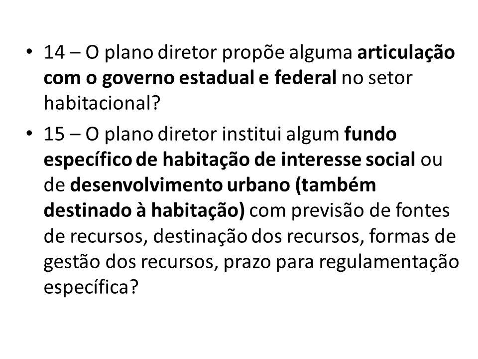 14 – O plano diretor propõe alguma articulação com o governo estadual e federal no setor habitacional
