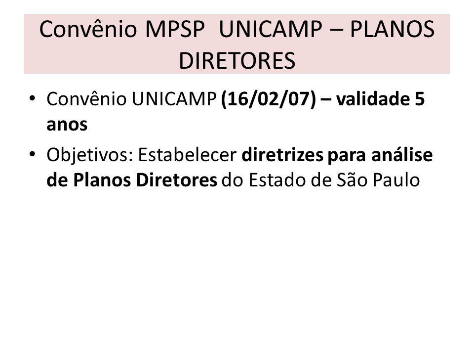 Convênio MPSP UNICAMP – PLANOS DIRETORES