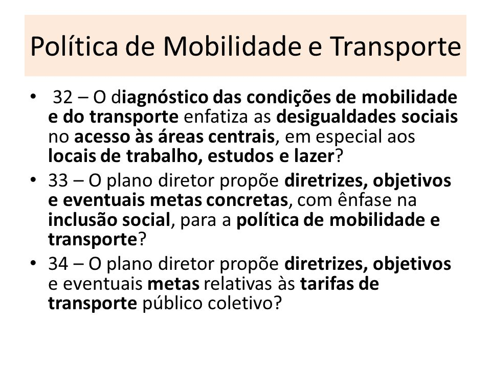 Política de Mobilidade e Transporte