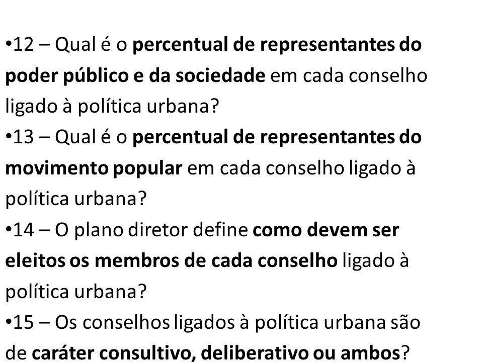 12 – Qual é o percentual de representantes do poder público e da sociedade em cada conselho ligado à política urbana