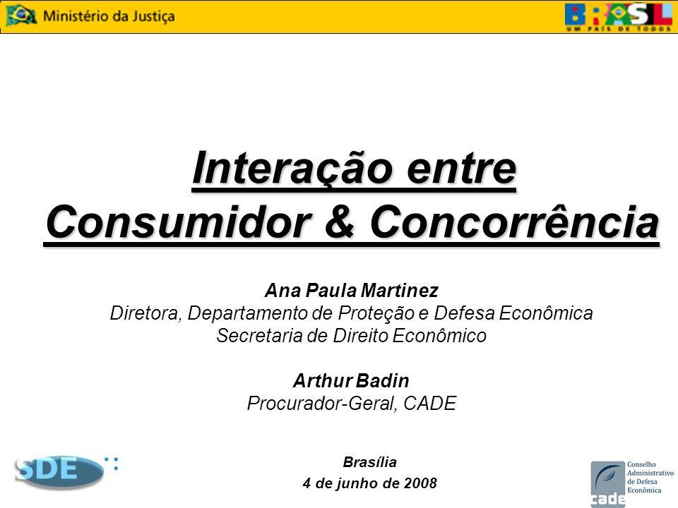 Interação entre Consumidor & Concorrência Ana Paula Martinez Diretora, Departamento de Proteção e Defesa Econômica Secretaria de Direito Econômico Arthur Badin Procurador-Geral, CADE