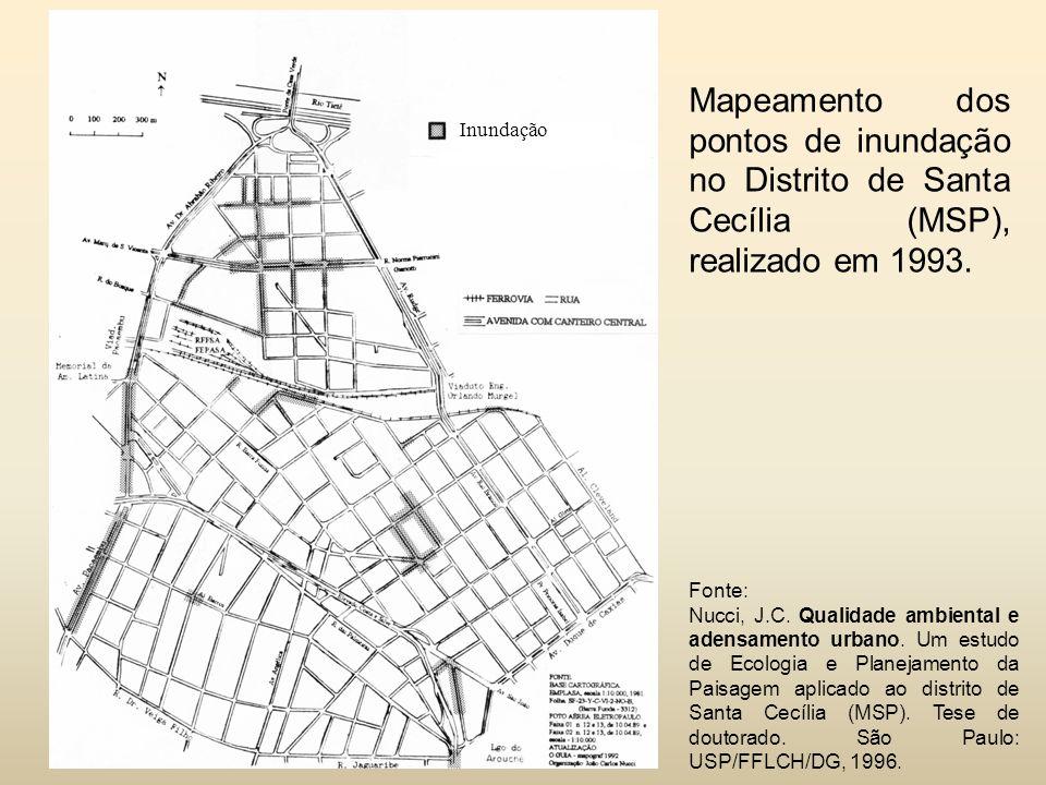 Mapeamento dos pontos de inundação no Distrito de Santa Cecília (MSP), realizado em 1993.