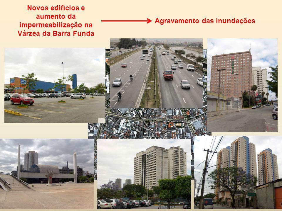 Novos edifícios e aumento da impermeabilização na Várzea da Barra Funda