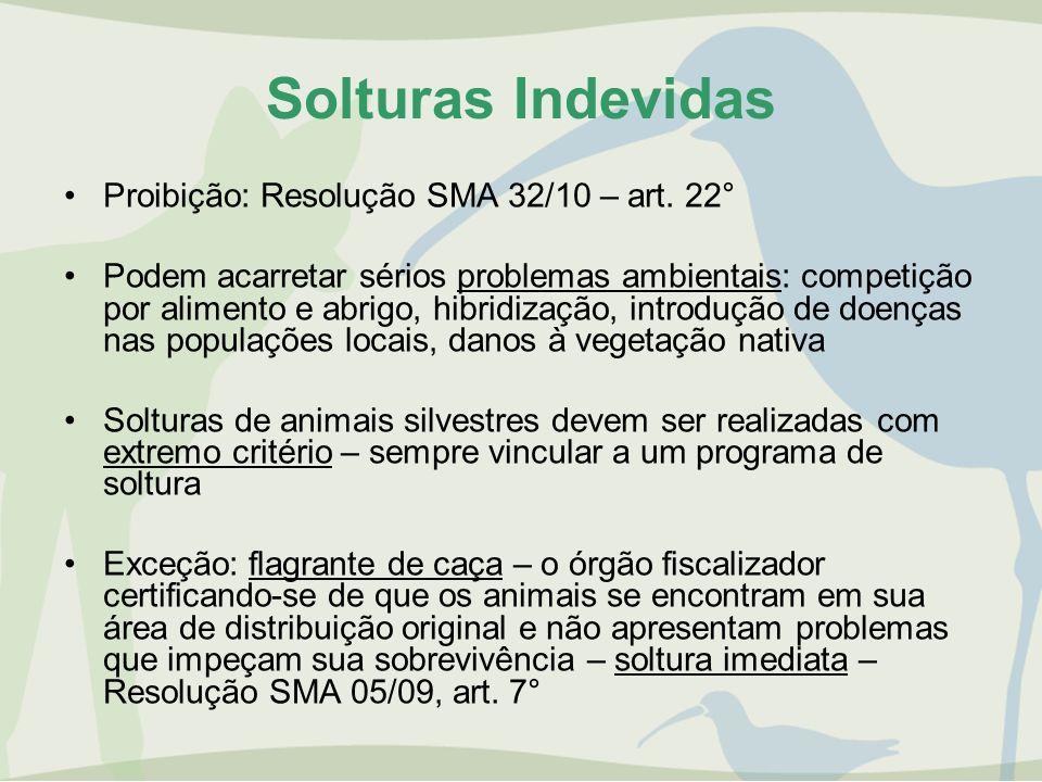Solturas Indevidas Proibição: Resolução SMA 32/10 – art. 22°
