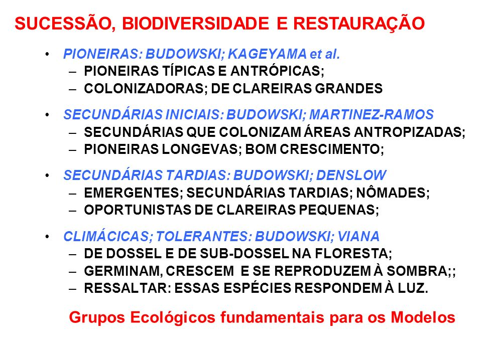 GRUPOS ECOLÓGICOS DE ESPÉCIES ARBÓREAS DA FLORESTA TROPICAL