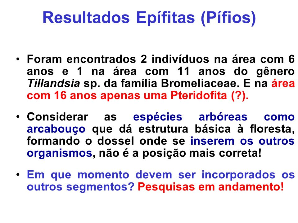 Resultados Epífitas (Pífios)