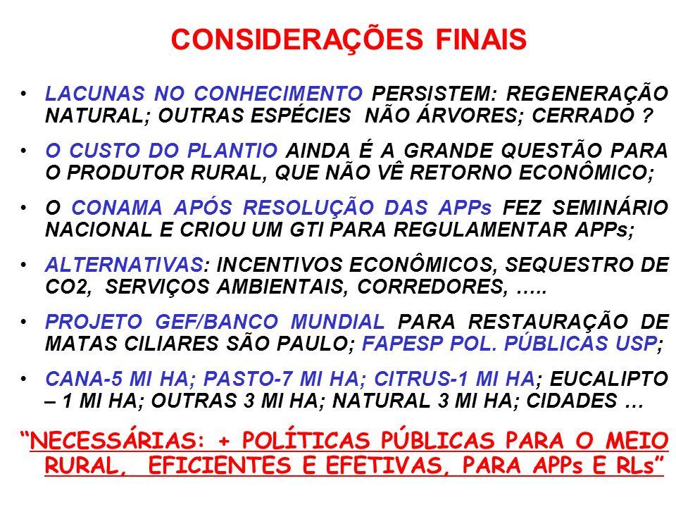CONSIDERAÇÕES FINAIS LACUNAS NO CONHECIMENTO PERSISTEM: REGENERAÇÃO NATURAL; OUTRAS ESPÉCIES NÃO ÁRVORES; CERRADO