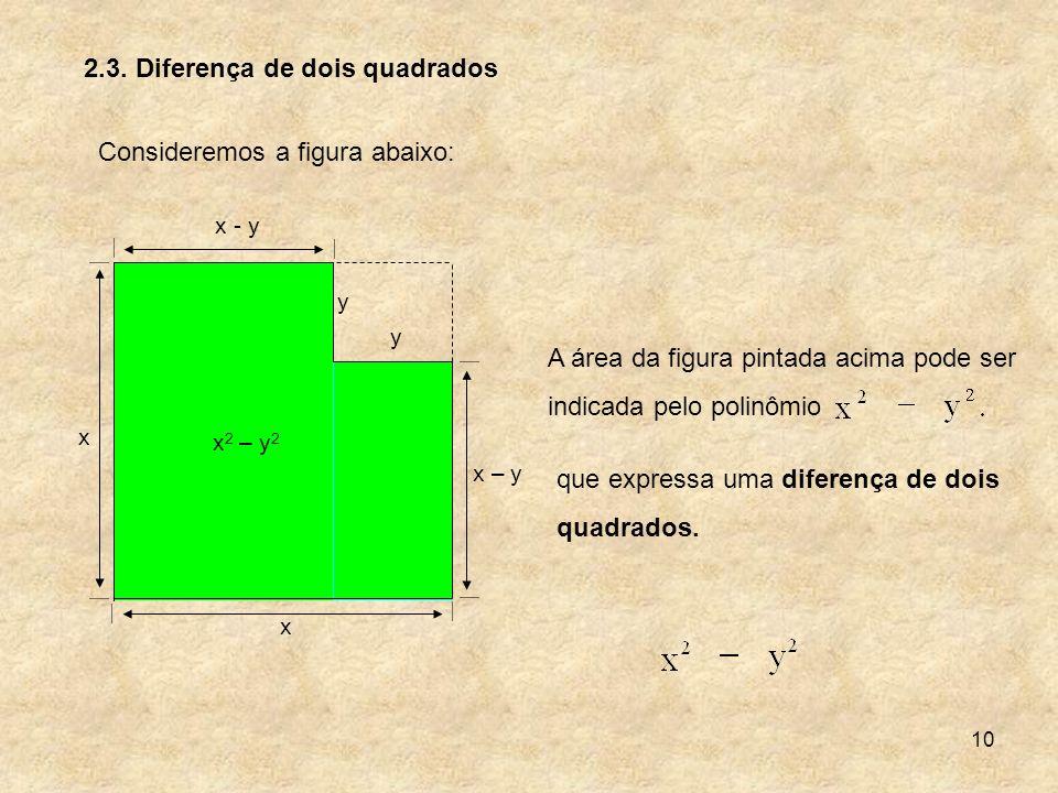 2.3. Diferença de dois quadrados