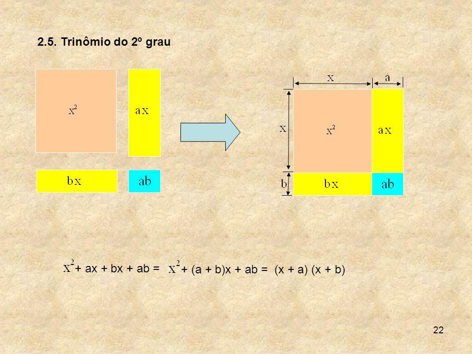2.5. Trinômio do 2º grau + ax + bx + ab = + (a + b)x + ab = (x + a) (x + b)