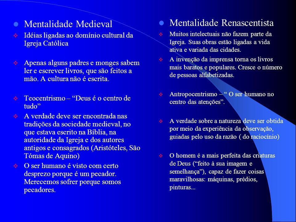 Mentalidade Renascentista Mentalidade Medieval