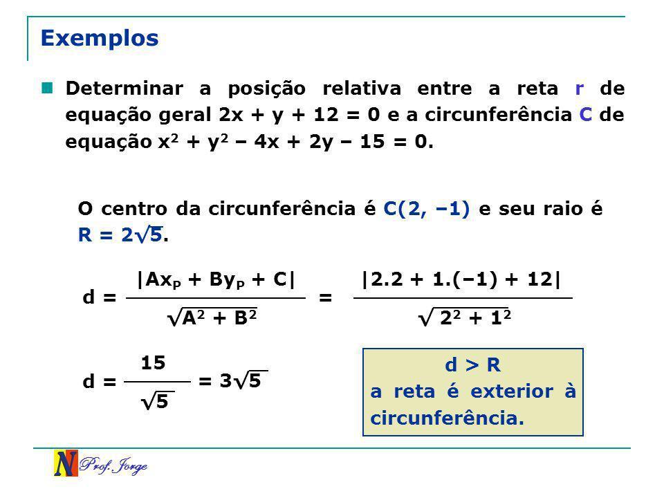 Exemplos Determinar a posição relativa entre a reta r de equação geral 2x + y + 12 = 0 e a circunferência C de equação x2 + y2 – 4x + 2y – 15 = 0.