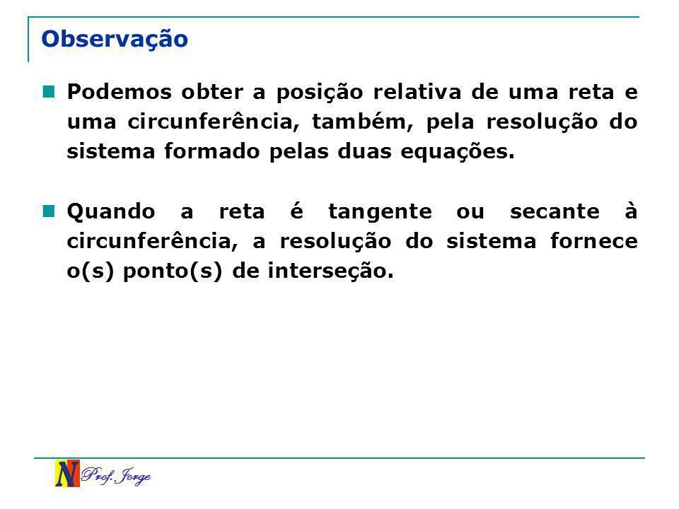Observação Podemos obter a posição relativa de uma reta e uma circunferência, também, pela resolução do sistema formado pelas duas equações.