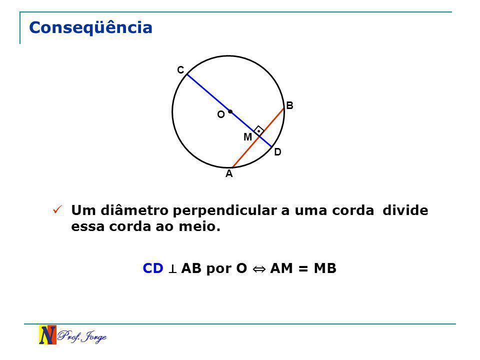 Conseqüência C. B. O. M. D. A. Um diâmetro perpendicular a uma corda divide essa corda ao meio.