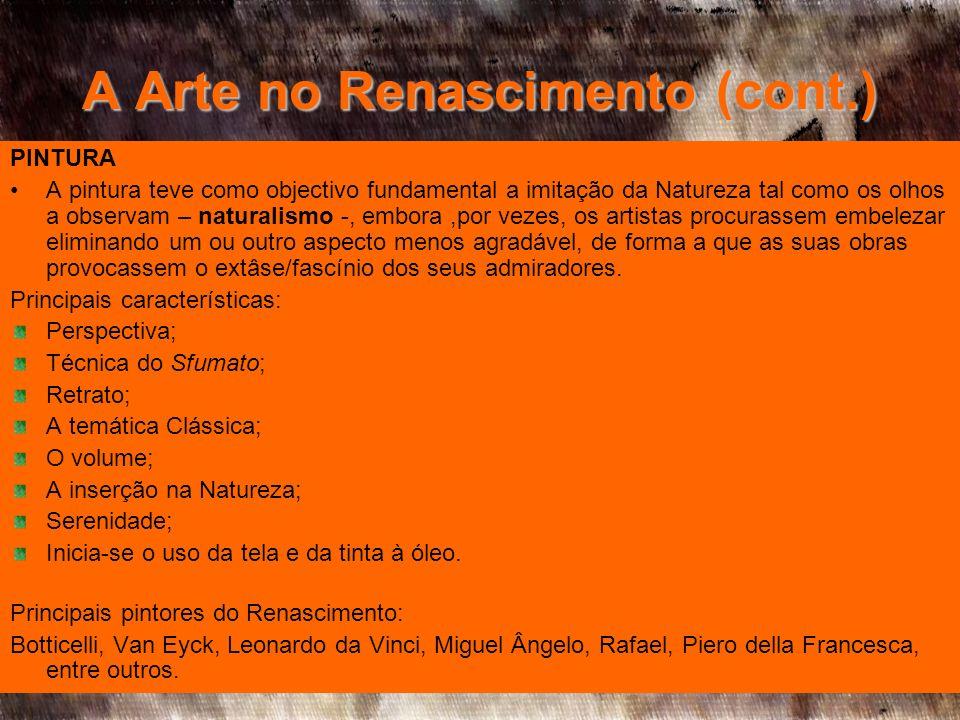 A Arte no Renascimento (cont.)