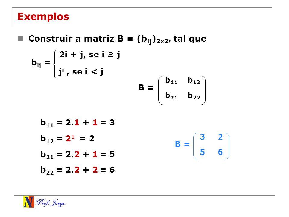 Exemplos Construir a matriz B = (bij)2x2, tal que 2i + j, se i ≥ j