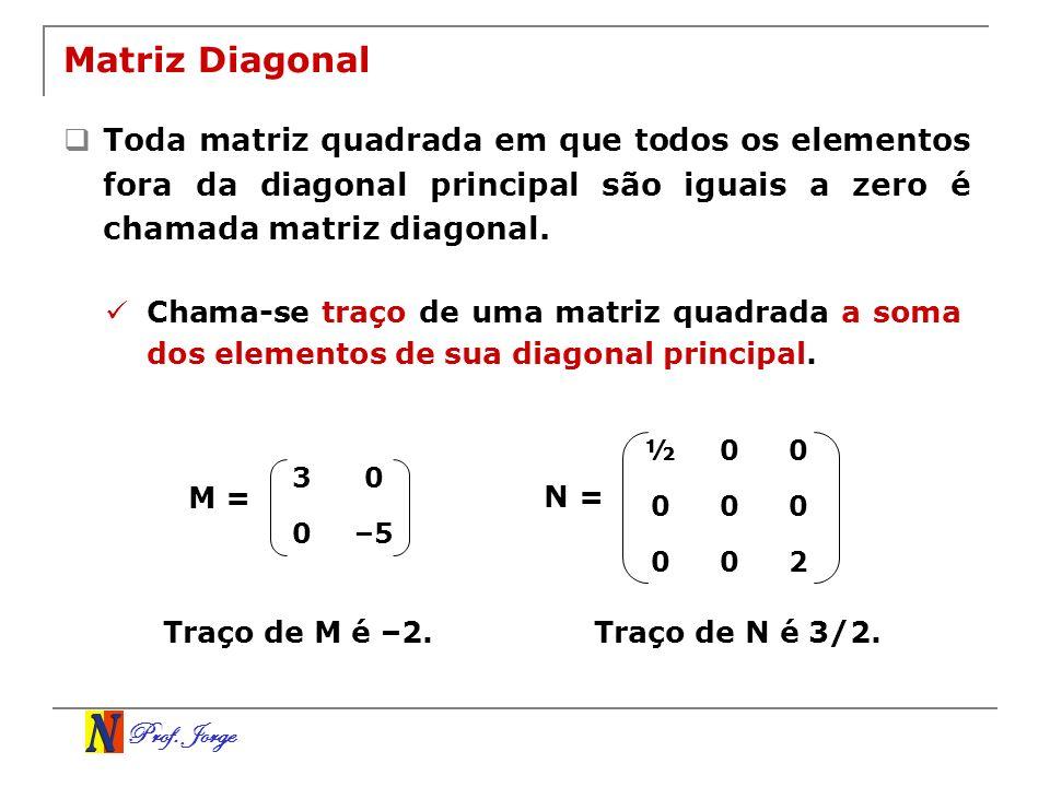 Matriz Diagonal Toda matriz quadrada em que todos os elementos fora da diagonal principal são iguais a zero é chamada matriz diagonal.