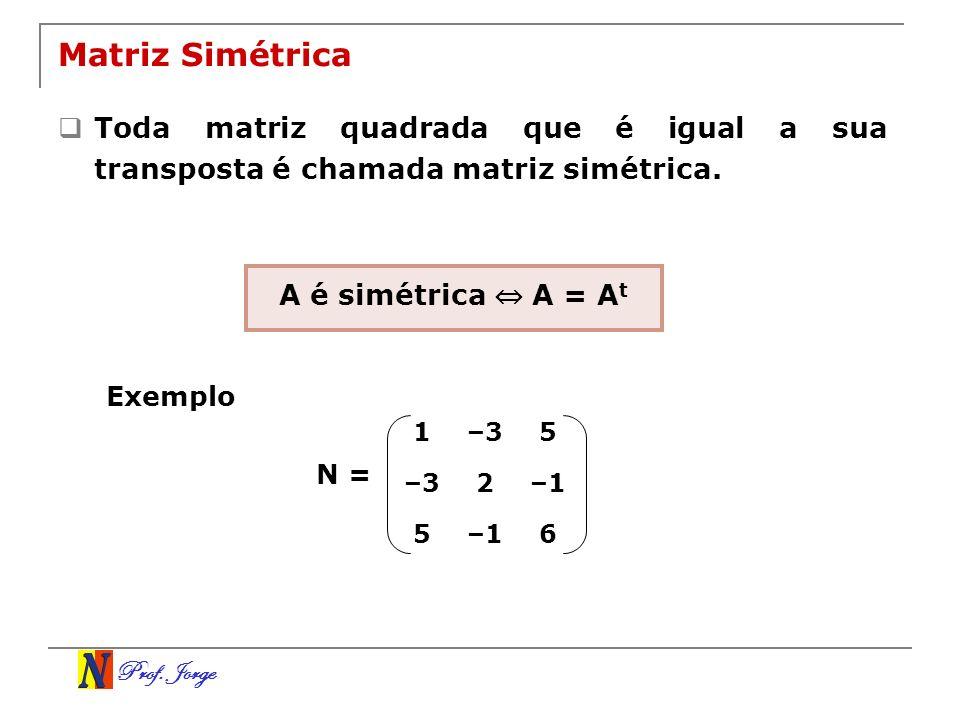 Matriz Simétrica Toda matriz quadrada que é igual a sua transposta é chamada matriz simétrica. A é simétrica ⇔ A = At.