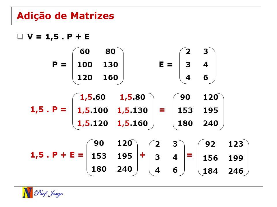 Adição de Matrizes V = 1,5 . P + E P = E = 1,5 . P = = 1,5 . P + E = +