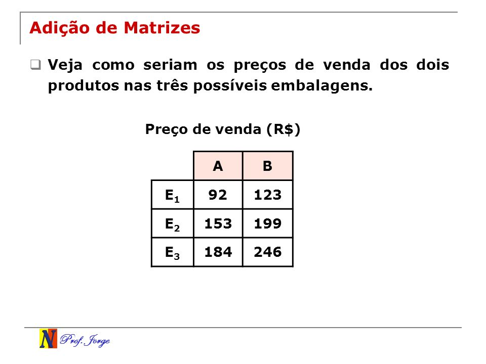 Adição de Matrizes Veja como seriam os preços de venda dos dois produtos nas três possíveis embalagens.
