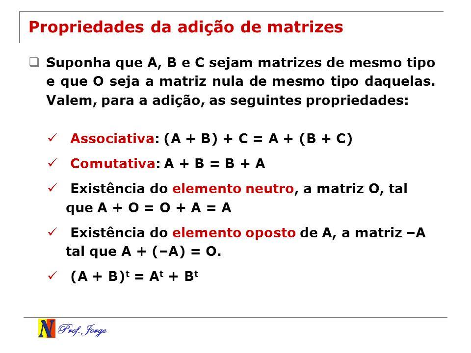 Propriedades da adição de matrizes