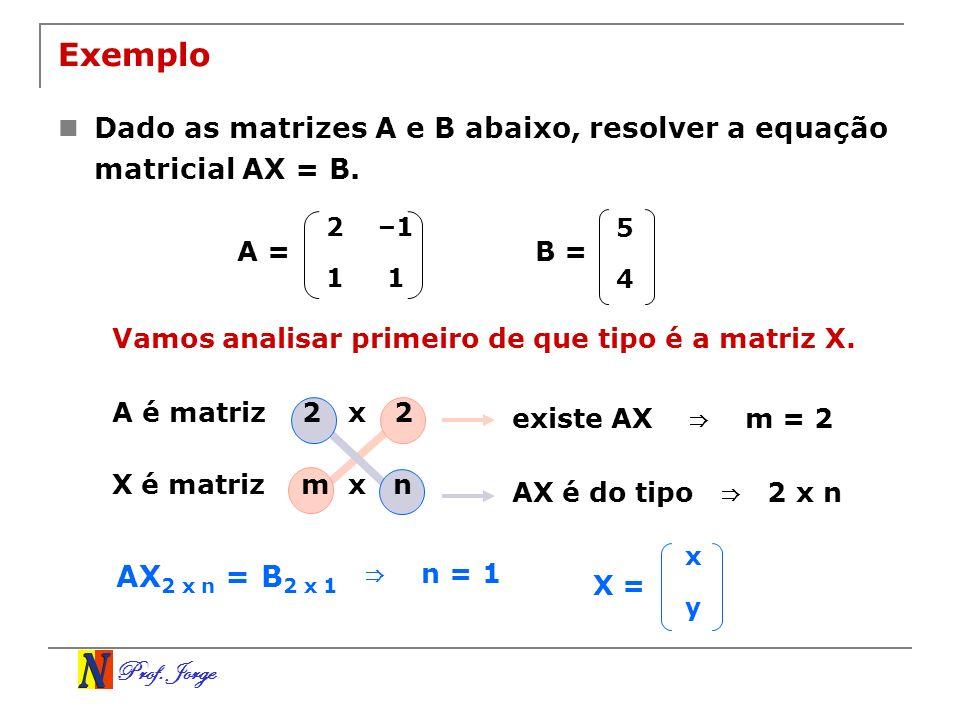 Exemplo Dado as matrizes A e B abaixo, resolver a equação matricial AX = B. 2. –1. 1. 5. 4. A =