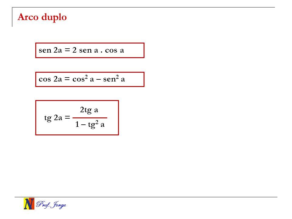 Arco duplo sen 2a = 2 sen a . cos a cos 2a = cos2 a – sen2 a 2tg a