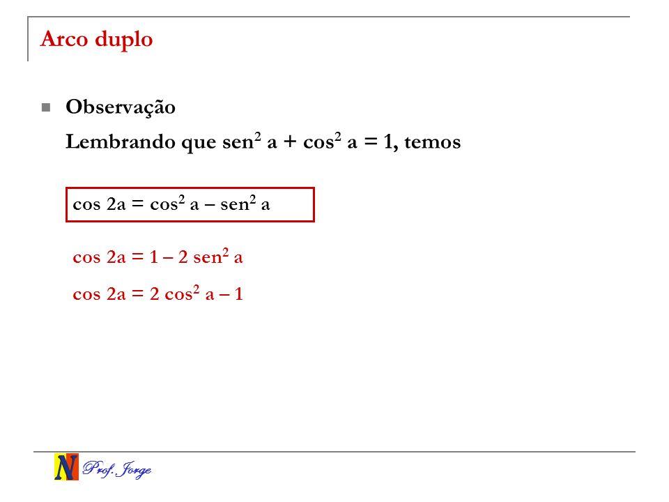 Arco duplo Observação Lembrando que sen2 a + cos2 a = 1, temos