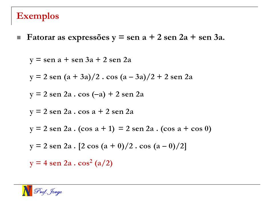 Exemplos Fatorar as expressões y = sen a + 2 sen 2a + sen 3a.