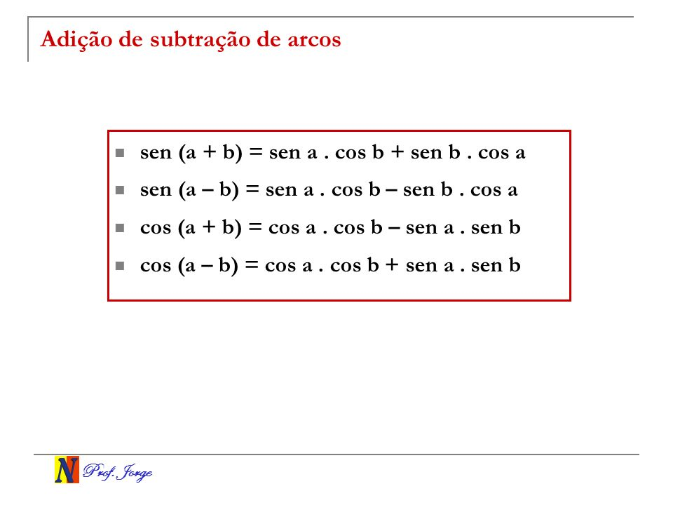 Adição de subtração de arcos