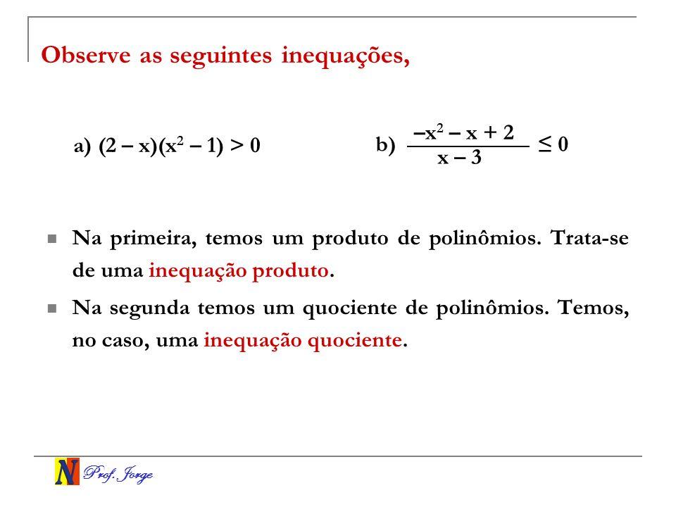 Observe as seguintes inequações,