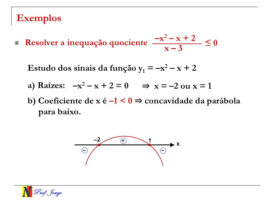 Exemplos –x2 – x + 2 Resolver a inequação quociente ≤ 0 x – 3