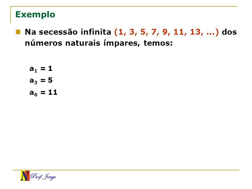 ExemploNa secessão infinita (1, 3, 5, 7, 9, 11, 13, ...) dos números naturais ímpares, temos: a1 = 1.