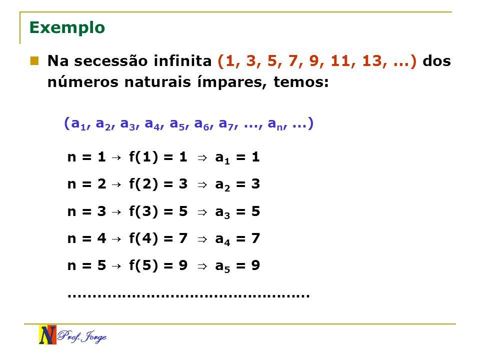 Exemplo Na secessão infinita (1, 3, 5, 7, 9, 11, 13, ...) dos números naturais ímpares, temos: (a1, a2, a3, a4, a5, a6, a7, ..., an, ...)