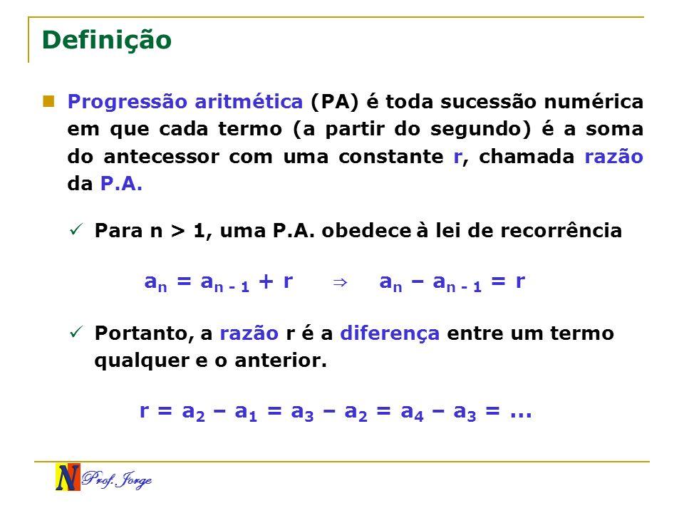 Definição an = an - 1 + r ⇒ an – an - 1 = r