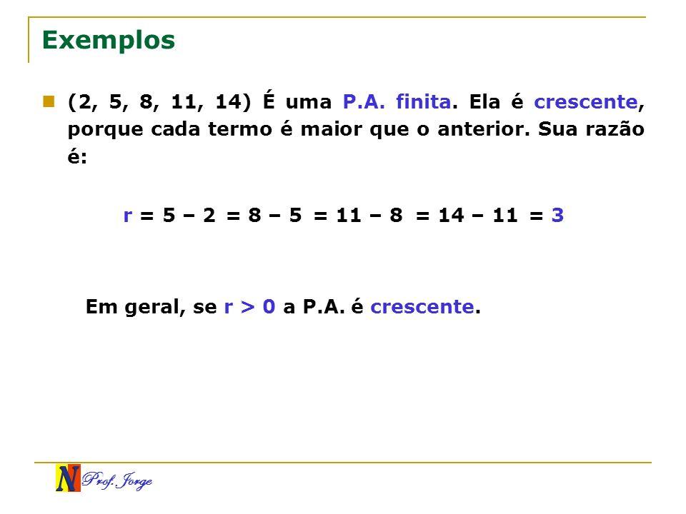 Exemplos(2, 5, 8, 11, 14) É uma P.A. finita. Ela é crescente, porque cada termo é maior que o anterior. Sua razão é: