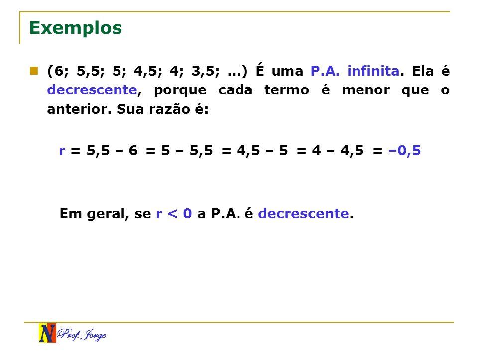 Exemplos (6; 5,5; 5; 4,5; 4; 3,5; ...) É uma P.A. infinita. Ela é decrescente, porque cada termo é menor que o anterior. Sua razão é: